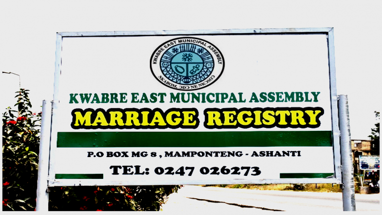KWABRE EAST MUNICIPAL ASSEMBLY INAUGURATES MARRIAGE REGISTRY